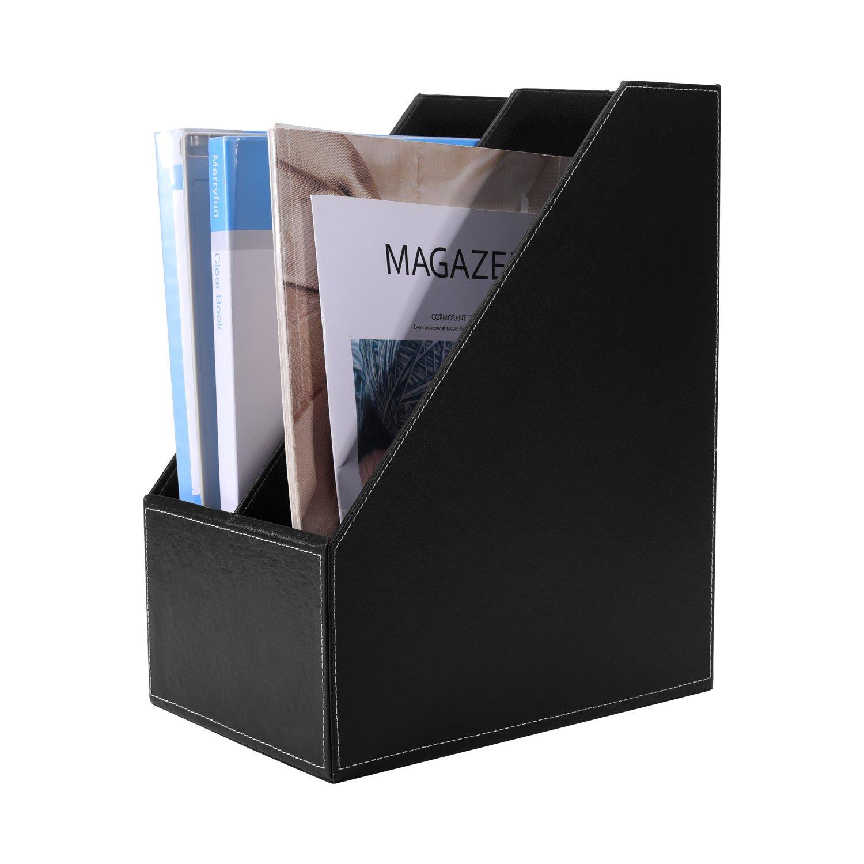 Smonet 2-Compartment PU Leather Home Office Desktop Tabletop Cubbyhole Pigeonhole Document & File Organizer Rack/Magazine Holder Folder Storage Box Bin (Black)