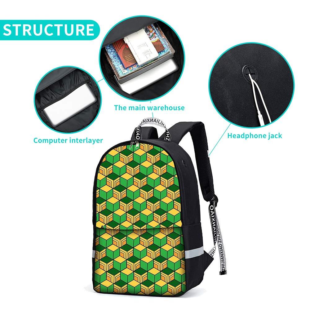 Xiongtai Demon Slayer ryggsäck för skola laptop ryggsäck resväska kapacitet dagväska anime väska bookbag. C2