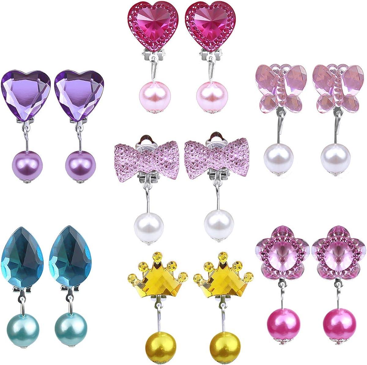 Natuce 7 pares Pendientes de clip Pendientes de diseño sin perforaciones Vestir accesorios de joyería princesa para niñas niños pequeños en 1 cajas rosa