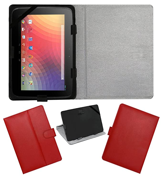 ACM Leather FLIP Flap Tablet Holder Carry CASE Stand Cover Compatible with Samsung Google Nexus 10 RED Bags,Cases   Sleeves