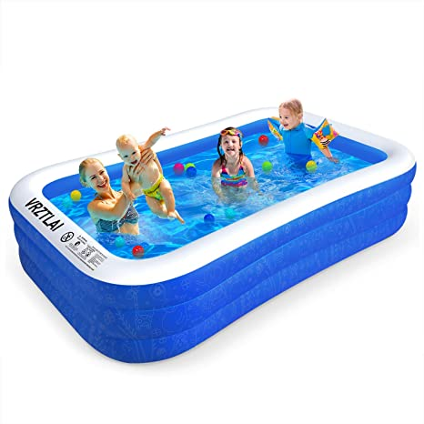 Vrztlai Family Inflatable Swimming Pool 118 X 72 X 22 Inflatable Lounge Pool For Kiddie Kids Adults Infant Toddlers Easy Set Swimming Pool For Garden Backyard Outdoor Summer Water Party Home