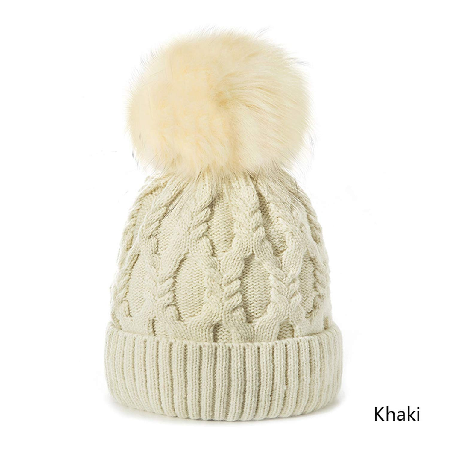 fab29a21f cbgxvd Women Winter Hat Pompoms Hats Thick Knitted Winter Beanies ...