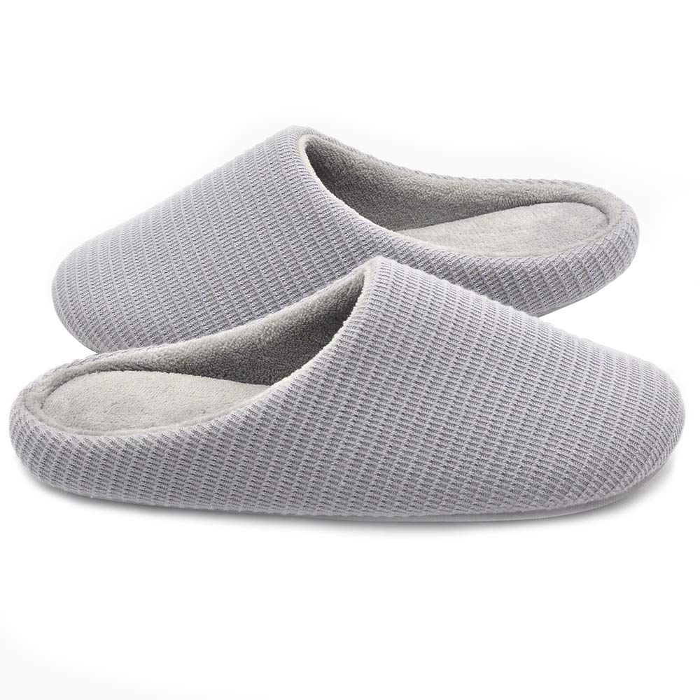 Wishcotton Women's Memory Foam Slippers, Washable Warm House Shoes (S, Light Grey)