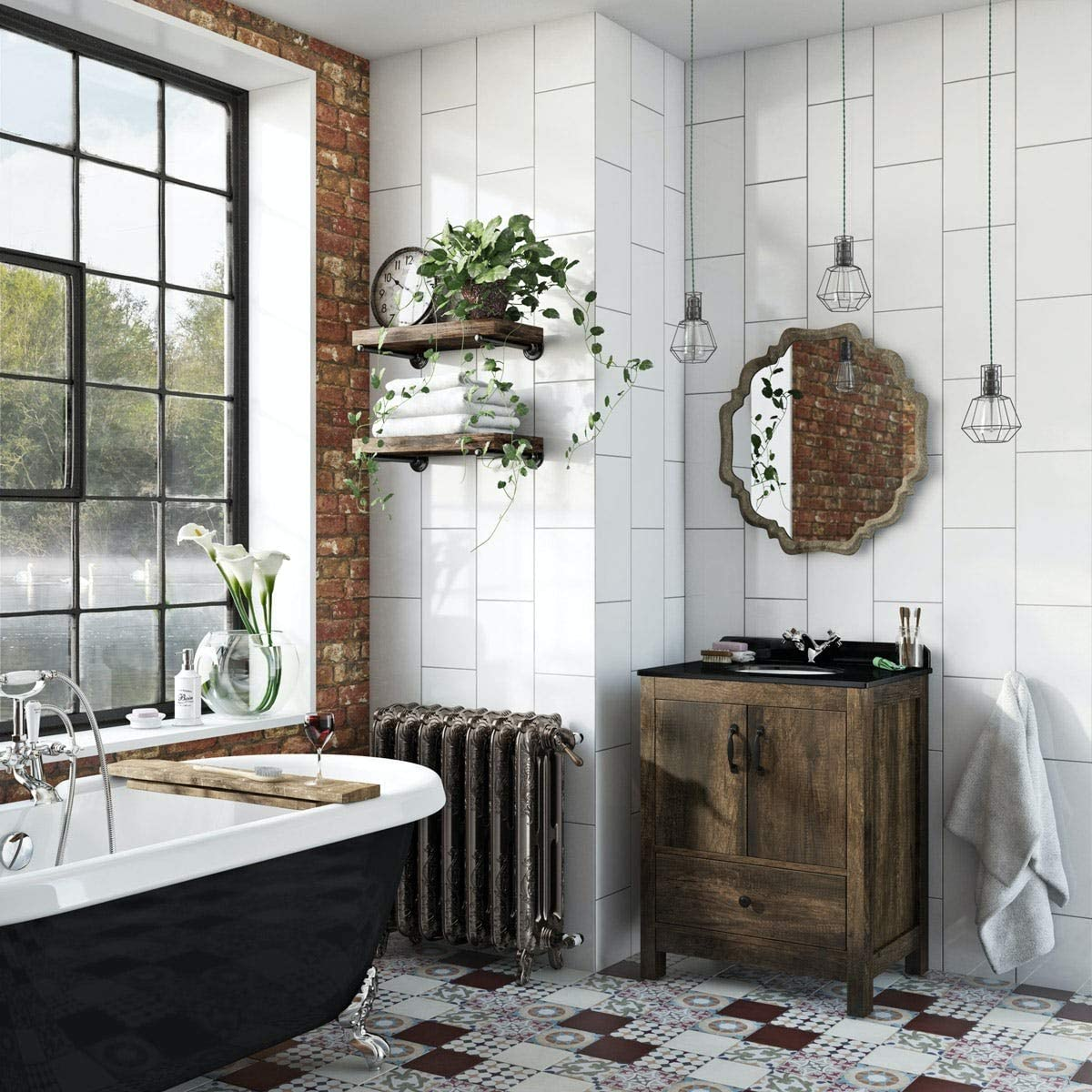 Dalston floorstanding vanity unit and black marble basin 650mm The Bath Co