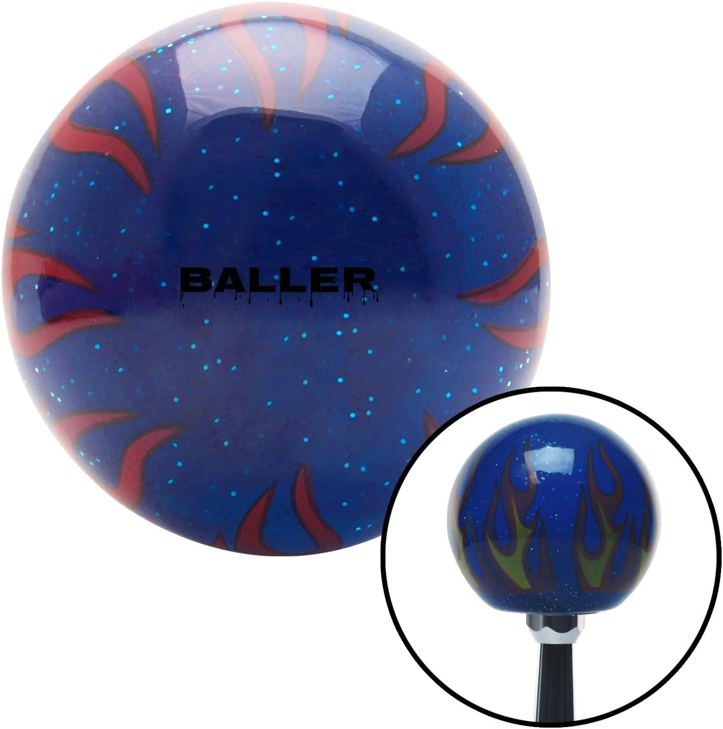 Yellow Bulls Eye American Shifter 248622 Blue Flame Metal Flake Shift Knob with M16 x 1.5 Insert