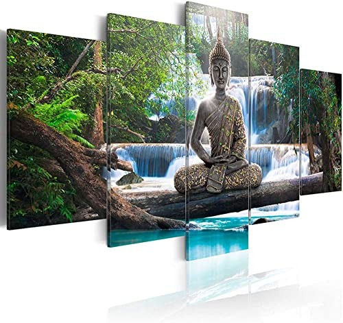 AWLXPHY Decor Buddha Waterfall Wall Art Canvas Painting Framed 5 Panel