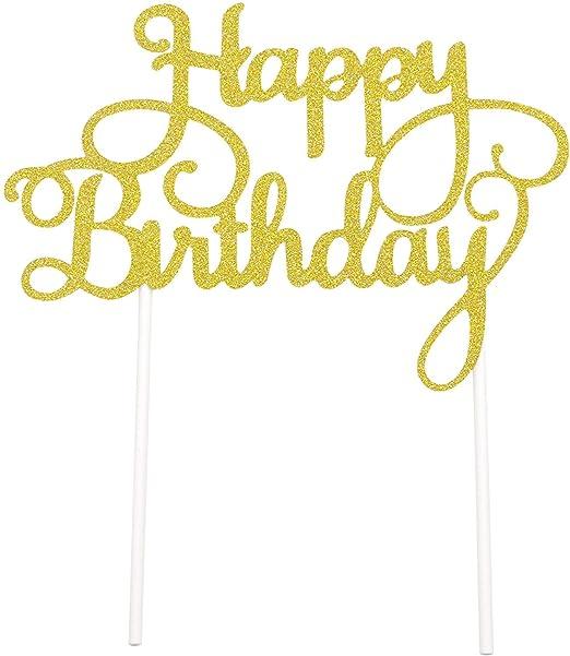 PuTwo - Letrero de Happy Birthday para decoración de Tartas de cumpleaños, Color Dorado