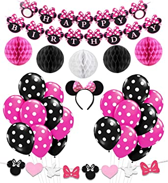 KREATWOW Minnie Themed Party Decorations Supplies Pink Minnie Ears Birthday Banner Garland for 1st 2nd Birthday Decorations