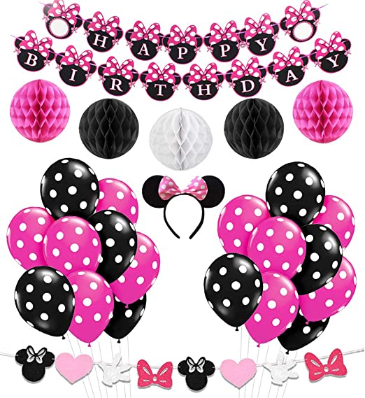 LUCK COLLECTION Minnie Mouse Party Decorations Supplies Pink Ears Birthday Banner Garland For Girls 1st 2nd Amazonca Clothing