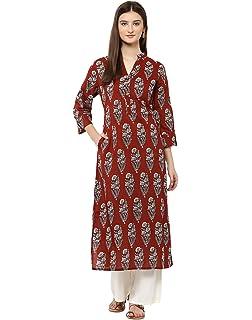 0bfae77856929 Jaipur Kurti Indigo Printed Kurta with Palazzo Trousers  Amazon.in ...