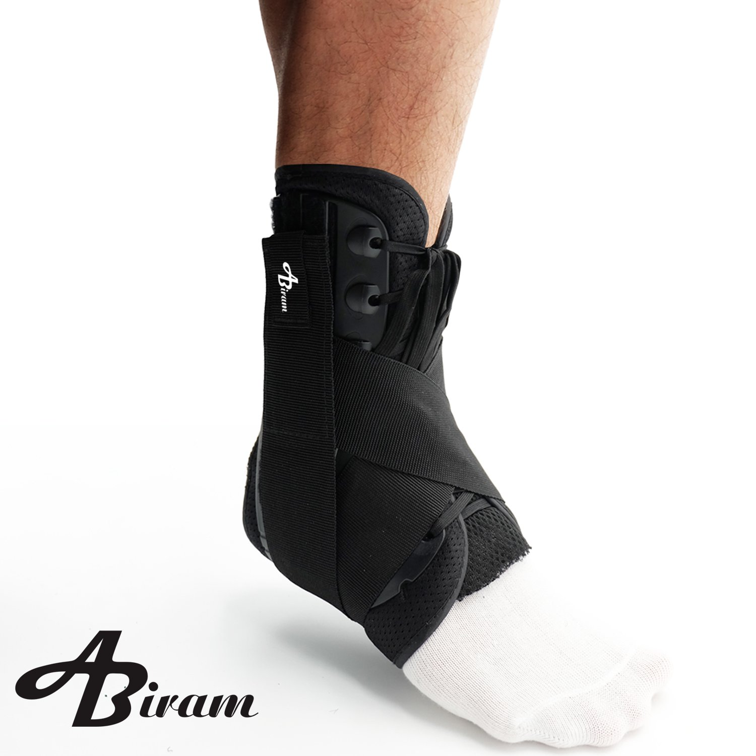 Ankle Brace, Lace Up Adjustable Support Stabilizer -Foot Pain Relief from Heel Spurs & Plantar,Fasciitis,Sprained Foot, Tendonitis, Injury Recovery-For Running, Volleyball Basketball