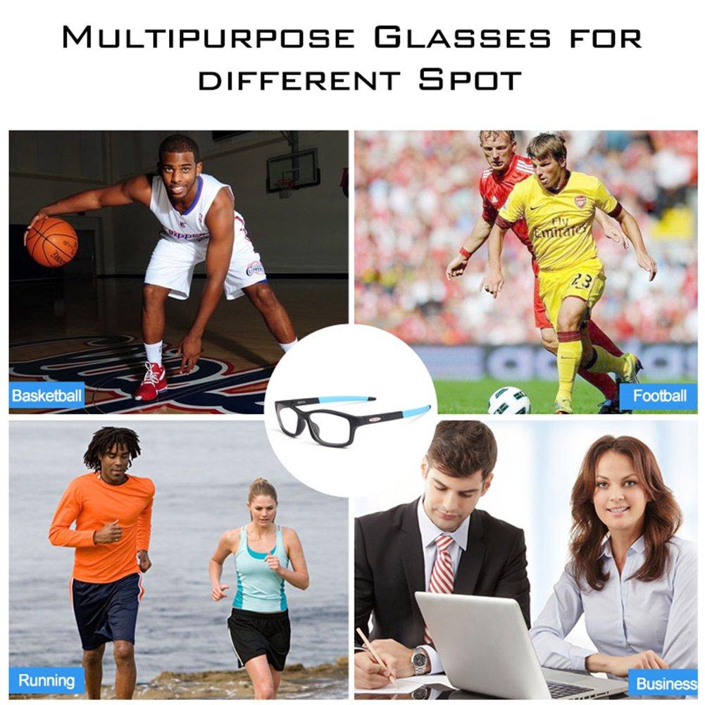 Bertha Sports Glasses Optical Protection Basketball Eyeglasses Frame Business Presription Eyewear 004 (Black&Red) by Bertha (Image #3)