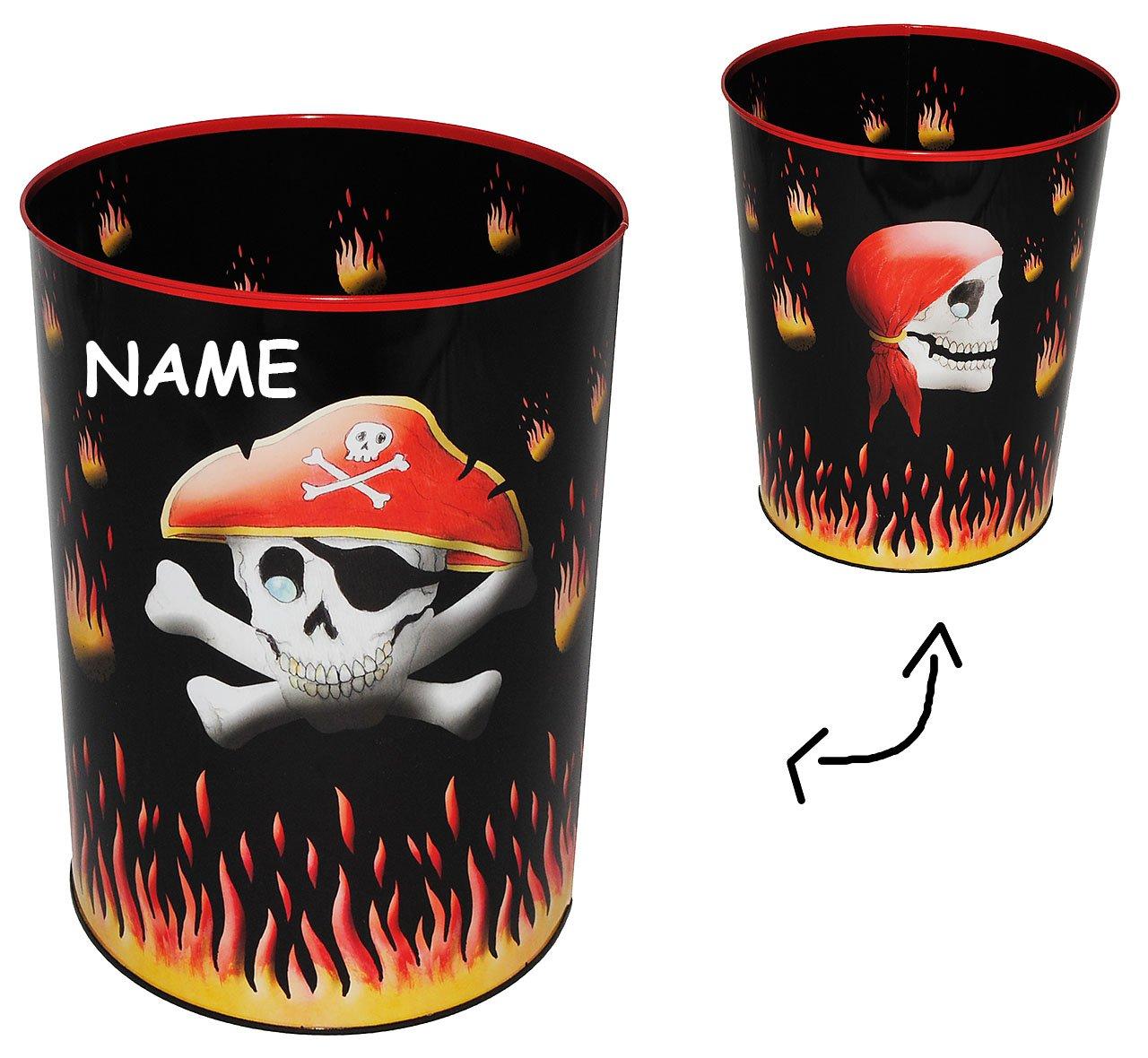 Unbekannt Papierkorb Pirat Totenkopf - Metall - incl. Name - Mülleimer Eimer - Schatztruhe / Abfallbehälter / Abfalleimer Kinderzimmer - Piraten Seefahrer - Aufbewahrungsbox für Kinder Jungen Kinder-land