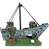 Aquarium Decorations Fish Tank Ornament Resin Accessories Wreck Sunk Ship Sailing Boat Destroyer For Fish and Shrimp To Avoid The House