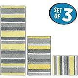 mDesign Striped Microfiber Non-Slip Bathroom Mat/Rug for Bathroom, Vanity, Bathtub/Shower, Dorm Room - Set of 3, Gray/Yellow