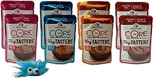 Wellness CORE Tiny Tasters Grain Free Cat Food 4 Flavor 8 Pouch Plus Catnip Toy Sampler Bundle, (2) Each: Duck, Tuna, Chicken, Chicken Beef, (1.75 Ounces)