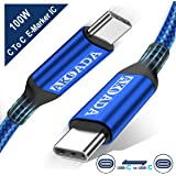 Akoada USB-C to USB-C 100W Cable 10ft,USB C Braided Fast Charging Cable Compatible with 2019/2018 MacBook,MacBook Pro,MacBook Air/iPad Pro 2018,HP Spectre,Pavilion,Pixebookand Type-C Laptops (Blue)