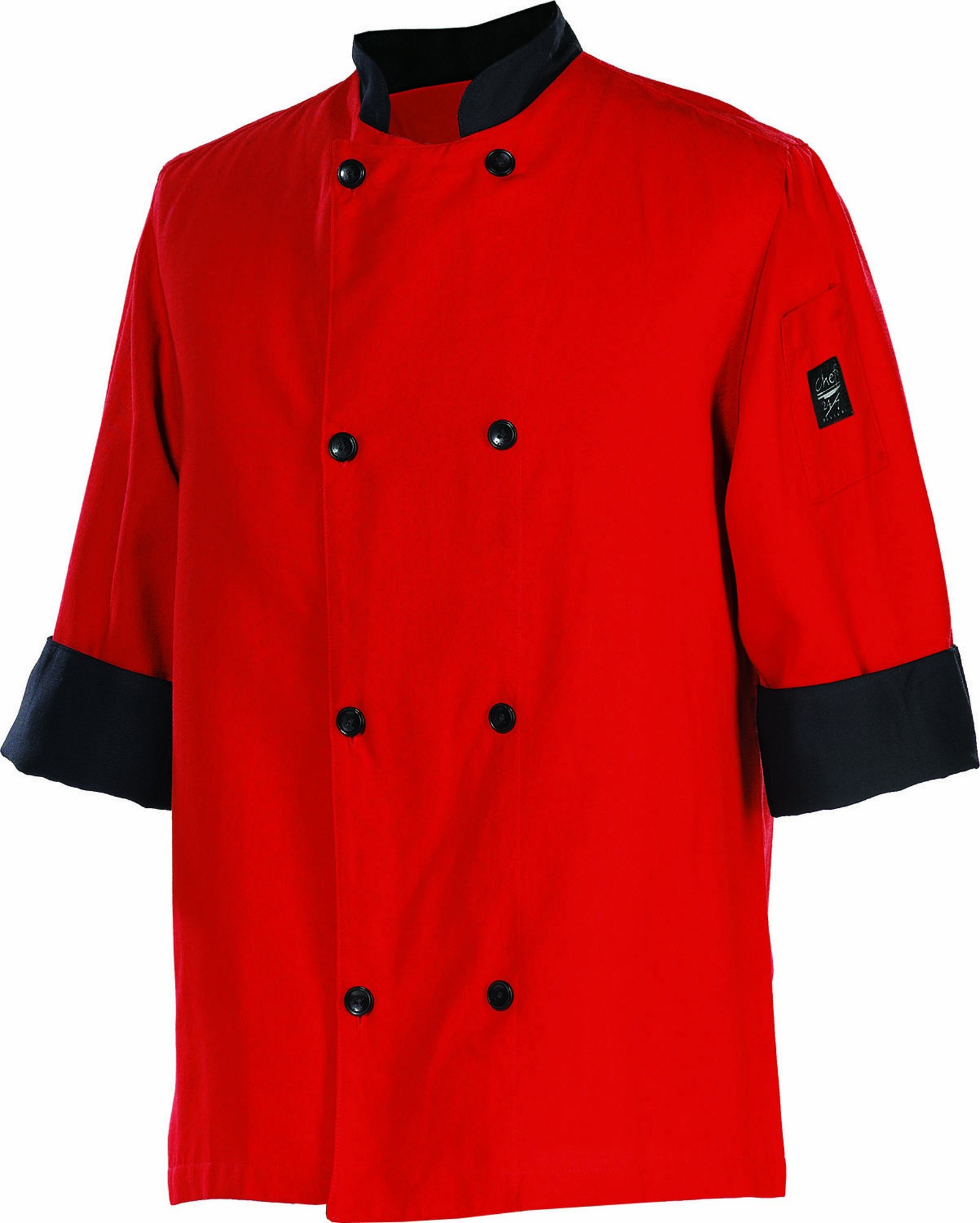 Chef Revival J134TM 24/7 Poly Cotton 3/4 Sleeve Fresh Chef Jacket with Black Trim and Flat Black Button, Medium, Tomato Red
