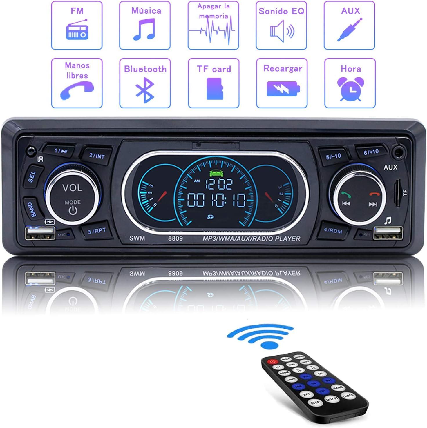 Radio Coche, Autodio Bluetooth, Apoyo de Reproductor MP3 Llamadas Manos Libres Apoyo Control Remoto con Doble USB/TF/Función AUX,Radio Esteréo con Carga Rápida