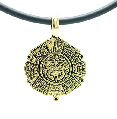 Amazon exoticdream aztec mayan sun calendar pewter pendant exoticdream aztec mayan sun calendar pewter pendant calendario azteca 18quot pvc rubber necklace gold aloadofball Image collections