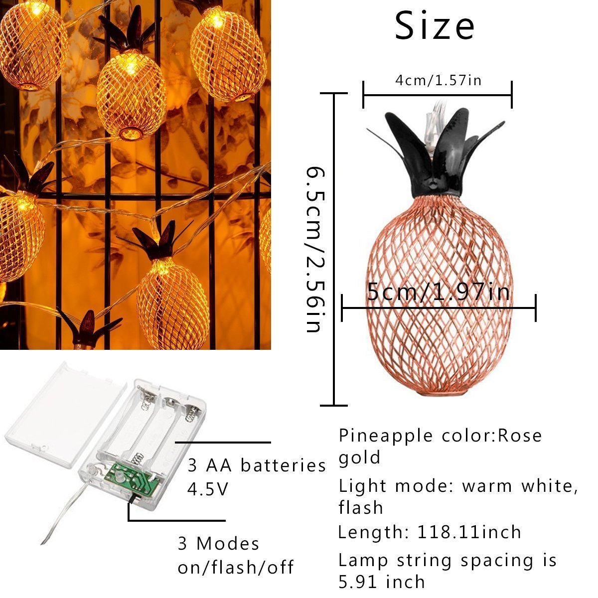 9.8FT//3M 20 LED Bulbs Battery Operated Romantic Fairy Lights for Wedding Garden Festival Party Halloween Christmas Indoor /& Outdoor Decoration-Warm White Pineapple String Lights