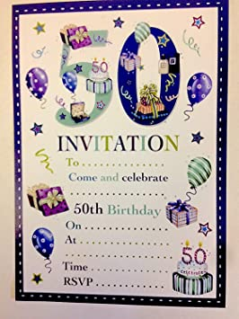 50th Birthday Party Invitations Male Design 20 Sheets And Envelopes