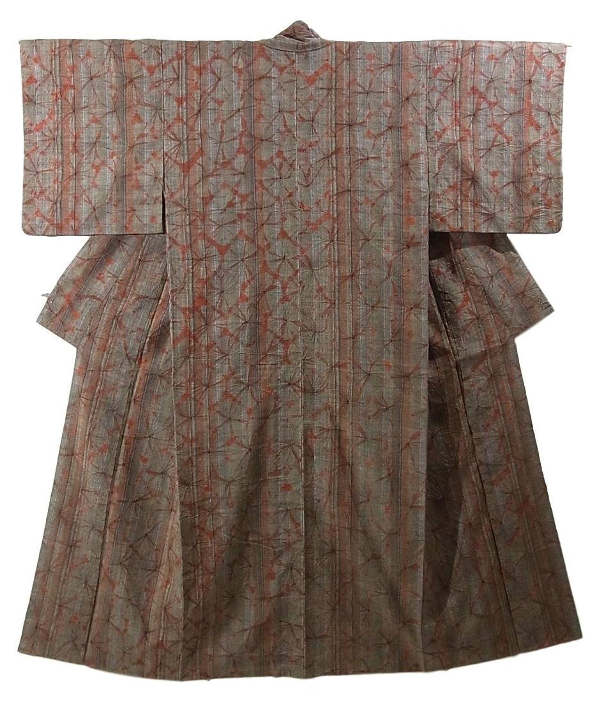 リサイクル 着物  紬 絞り染め 正絹 袷 裄62.5cm 身丈152cm B07DS67ZK6  -