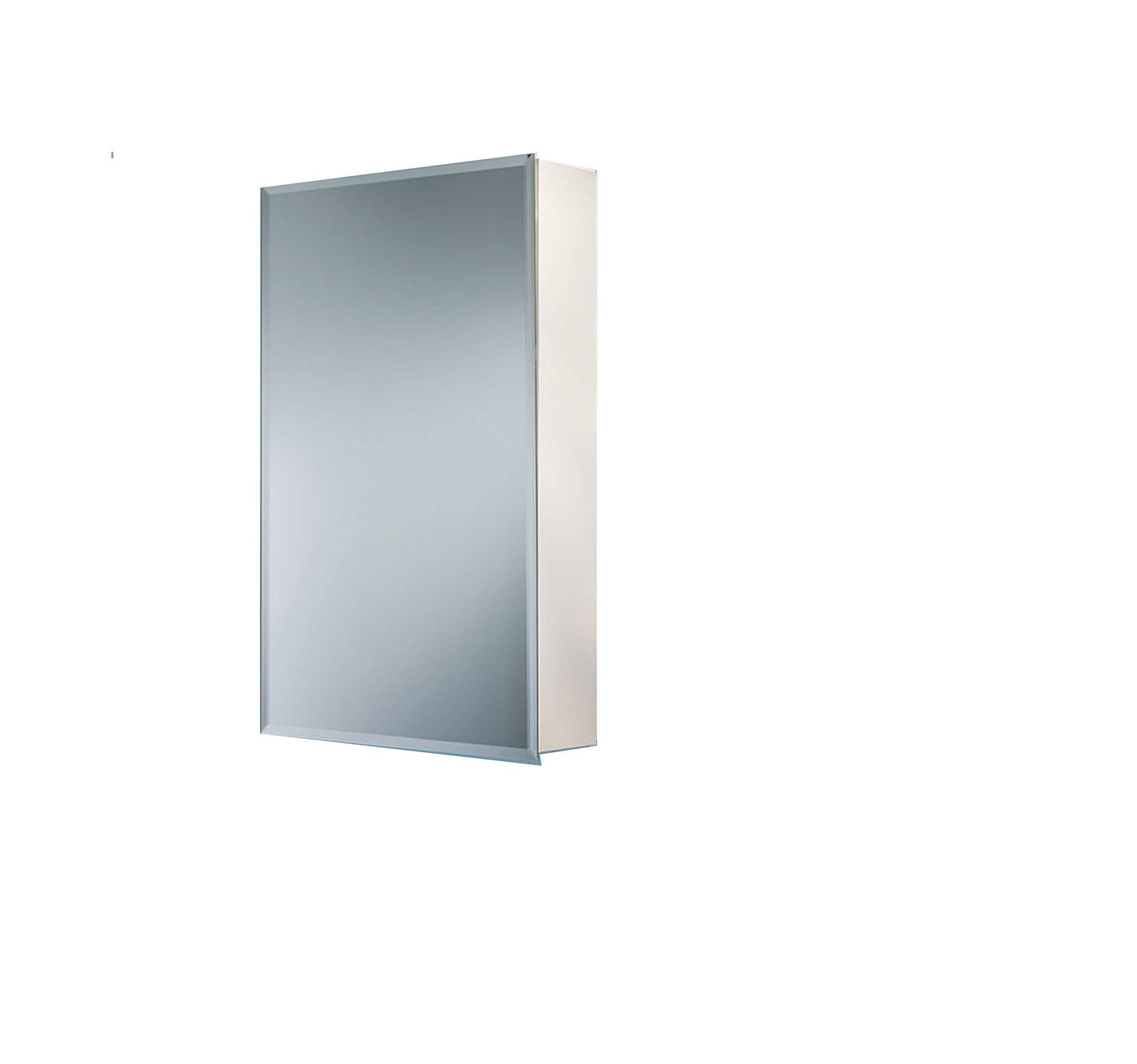 "Jensen 1451X Bevel Mirror Medicine Cabinet, 16"" x 26"" - Recess mount: wall opening - 14 inch w x 18 inch H Left or right hand opening with continuous piano hinge Frameless 1/2 in beveled mirror on door exterior - shelves-cabinets, bathroom-fixtures-hardware, bathroom - 71LNqmpVTwL -"