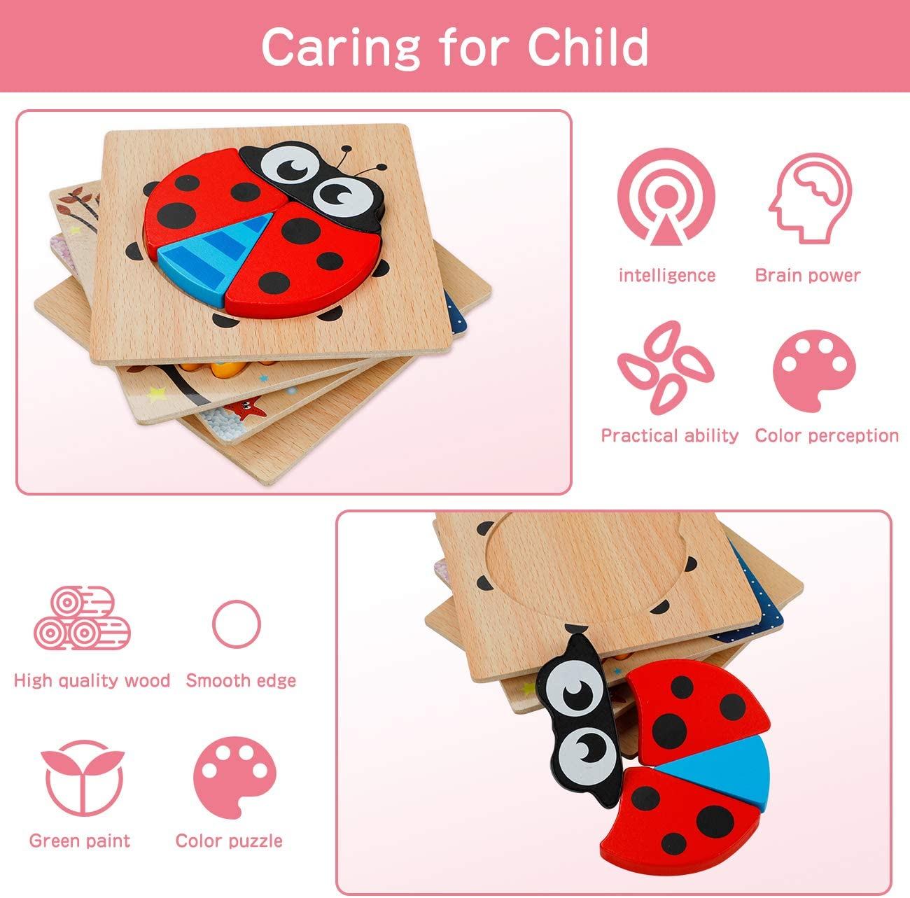 Wooden Puzzles for Toddlers 4 Pack Wooden Jigsaw Puzzles for Toddlers Animal Puzzles Educational Toys for Kids Boys Girls