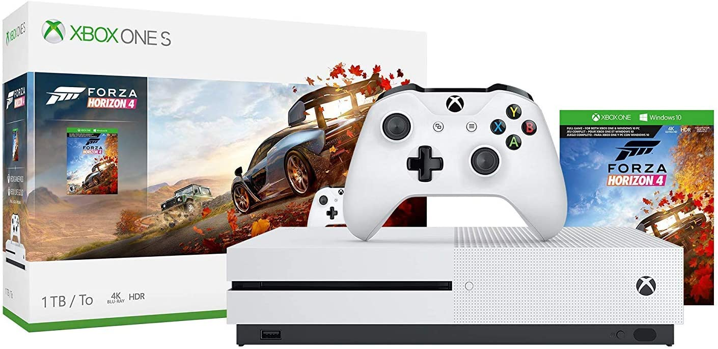 Microsoft Xbox One S 1TB 2TB Forza Horizon 4 Bonus Bundle Forza Horizon 4, Xbox Wireless Controller, Xbox One S 4K HDR Console – White One S Gaming Console with 4K Blu-Ray Player