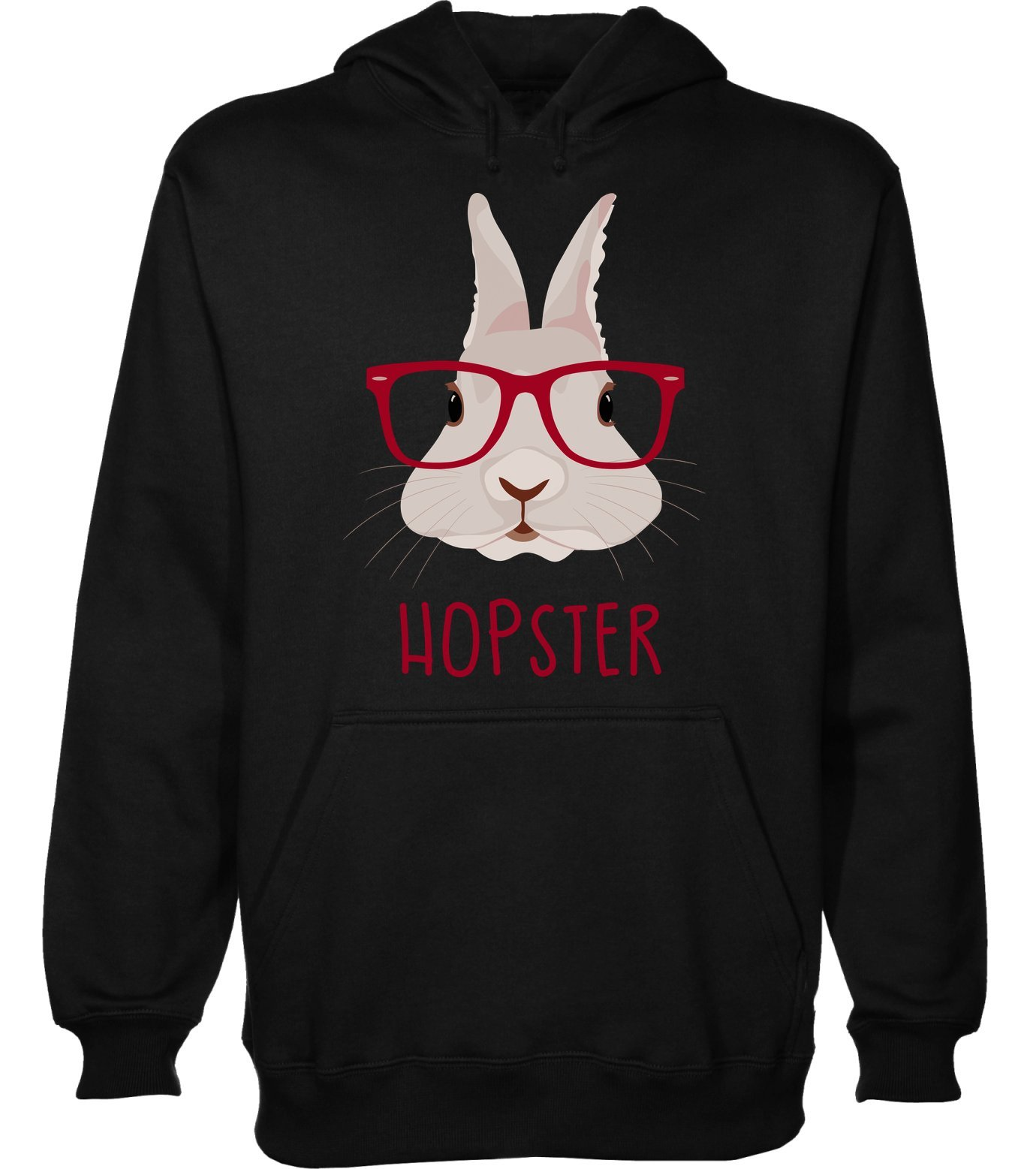 Hopster Awesome Rabbit with Hipster Glasses Men's Hoodie Pullover Medium