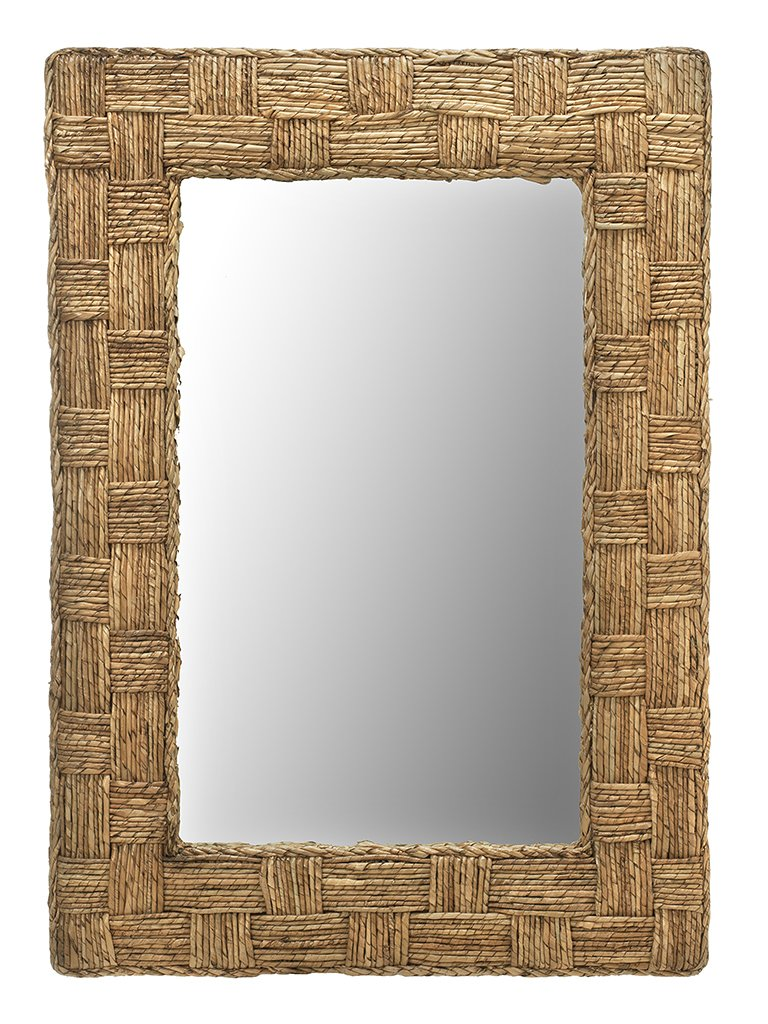 "KOUBOO 1040139 Rectangular Checquered Wall Mirror in Rope, 24"" x 1.5"" x 36"" - 24 inches wide x 36 inches high x 1.5 Inches deep Frame hand woven from Buri rope Mirrored glass can be cleaned with any glass cleaner - bathroom-mirrors, bathroom-accessories, bathroom - 71LNtJxETgL -"