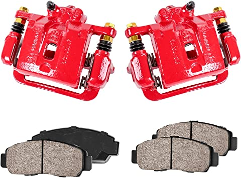 Hardware Kit Left /& Right Callahan CCK03479 REAR Premium Red Coated Caliper Pair