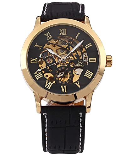 Carrie Hughes Men s Gold Skeleton Automatic Mechanical Stainless Steel Leather Watch CH625