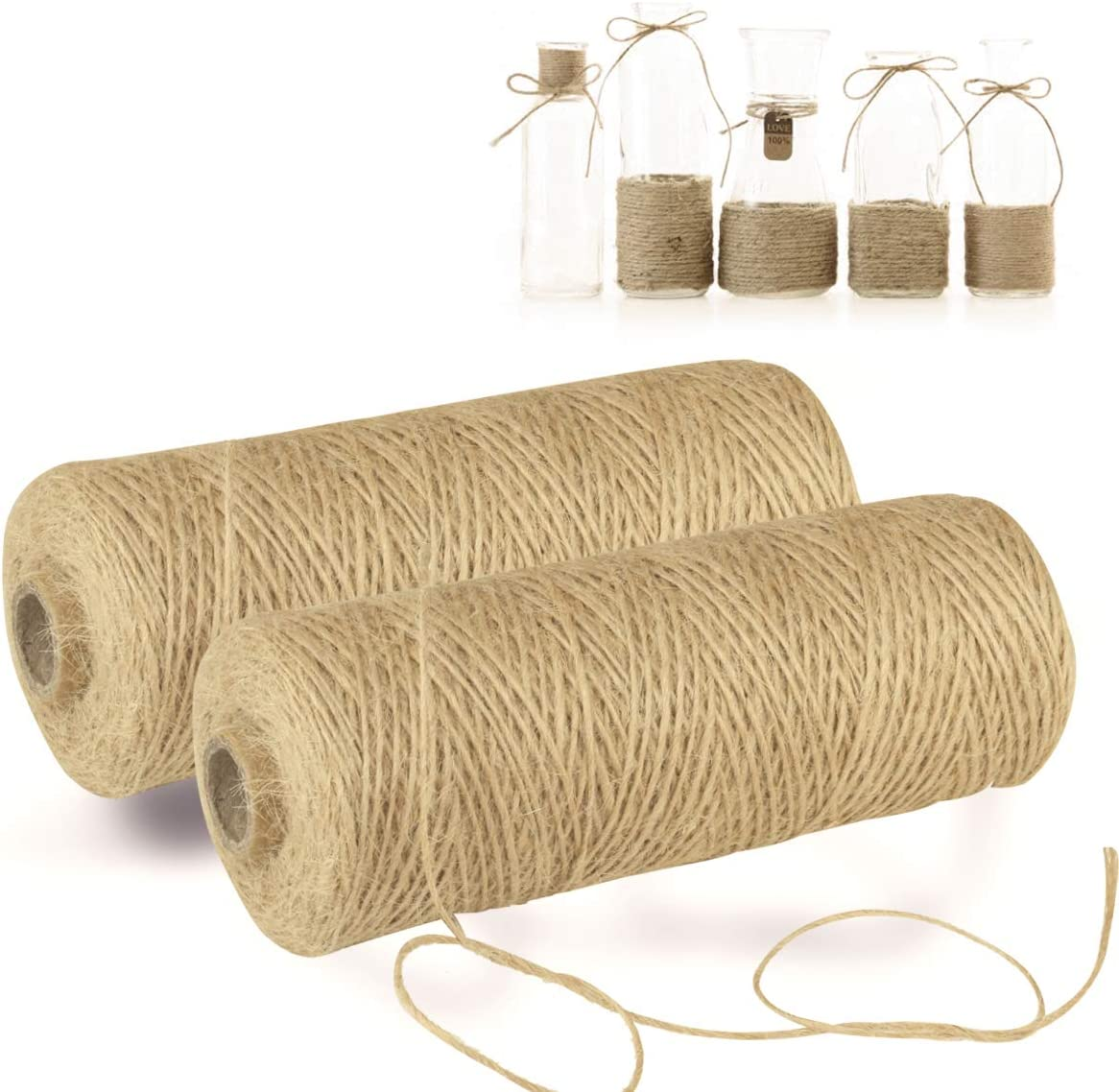 GHIFANT Natural Jute Twine String for DIY Craft 1mm//656feet Home Decorating Gift Packing Gardening. Cooking