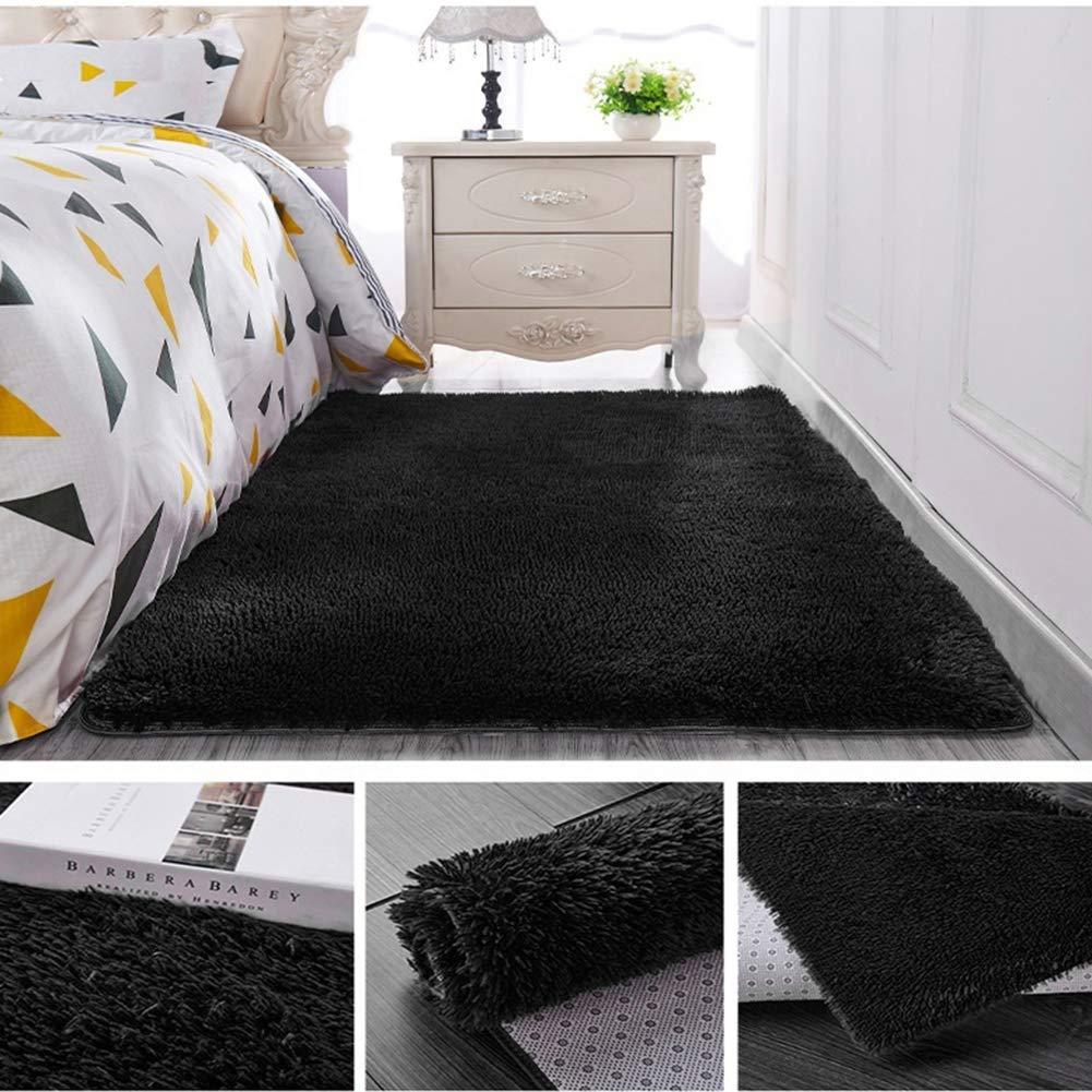 Solid Color Rectangle Thicken Carpet Rug Floor Mat Living Room Bedroom Decor Black 40cm x 60cm elekeyu87 Area Rug for Bathroom,Bedroom,Living Room,Laundry Room