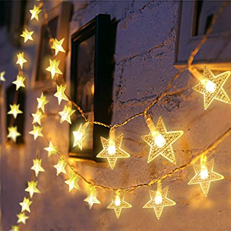 Amazon Com Christmas Star String Lights 43 Ft 100 Led Plug In Fairy Lights For Girls Bedroom Wall Wedding Indoor And Outdoor Decor 29 V Extendable Waterproof Twinkle Lights With 8 Flashing Modes Warm