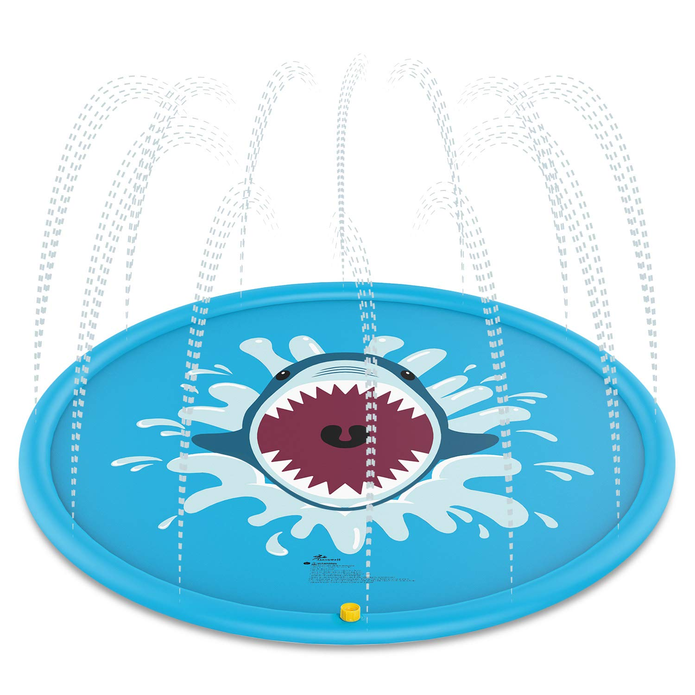 Jasonwell Sprinkle & Splash Play Mat 68'' Water Toys Fun for Children Toddlers Boys Girls Kids Outdoor Party Sprinkler Splash Pad (Blue)