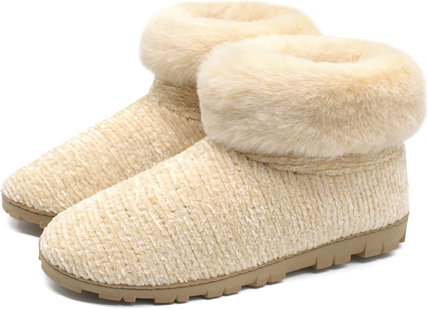 ONCAI Women's-Chenille-Boots-Slippers-Fluffy-House-Ankle-Booties Memory Foam Fur Lined Slipper Boots,Fashion Outdoor & Indoor Black Booties,Winter Warm Plush Vintage Cute House Bedroom Shoes