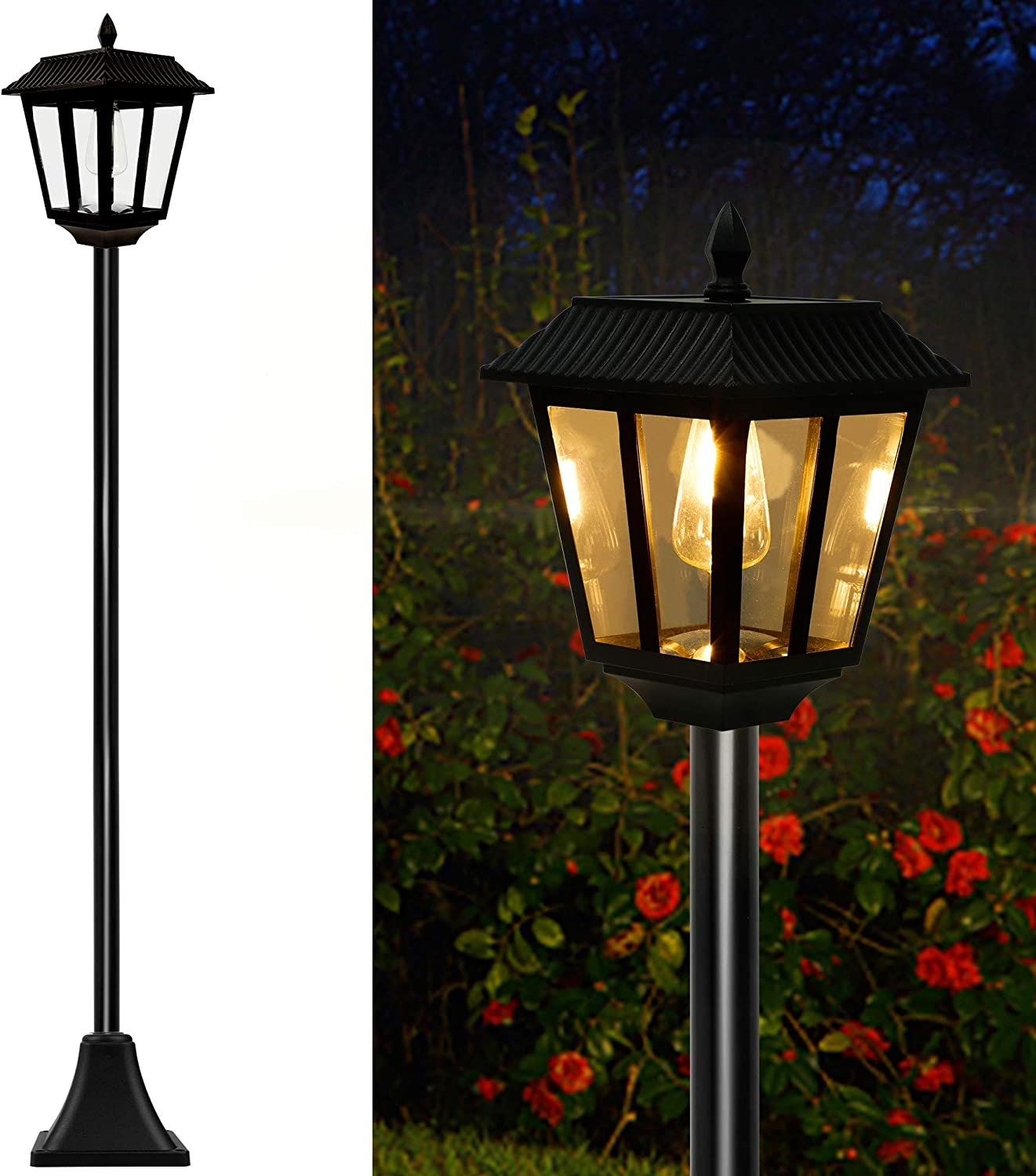 MAGGIFT 67 Inch Solar Lamp Post Lights, 100 Lumen Solar Powered Vintage Street Lights Outdoor, Warm White LED Edison Bulb Solar Post Light for Lawn, Pathway, Driveway, Front/Back Door