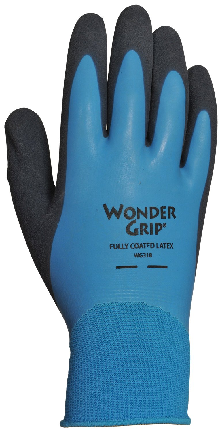 Wonder Grip WG318S Liquid-Proof Double-Coated/Dipped Natural Latex Rubber Work Gloves 13-Gauge Seamless Nylon, Small Small