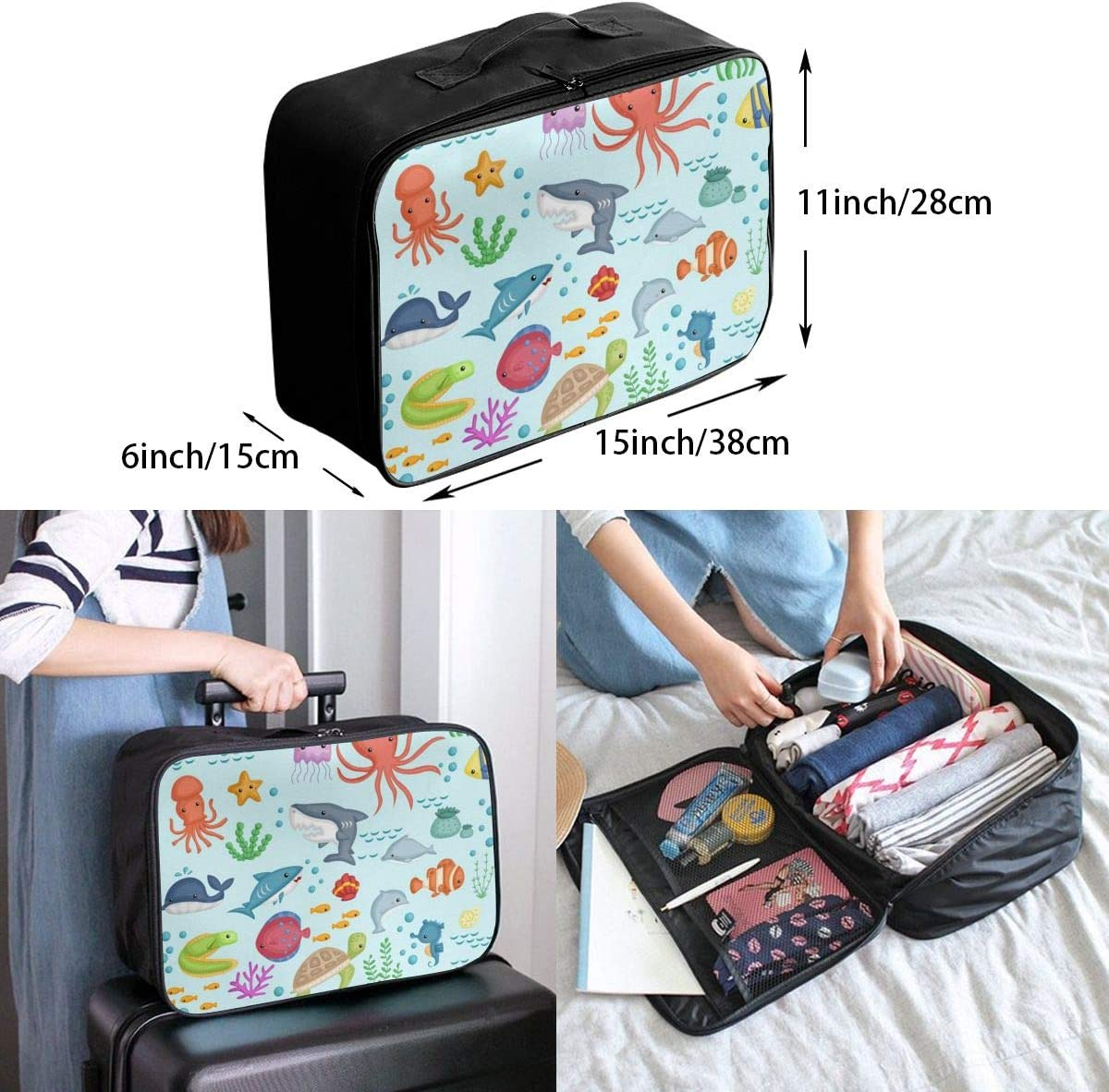 Underwater Life Lightweight LargeTravel Storage Luggage Trolley Bag Travel Duffel Bags Carry-On Tote