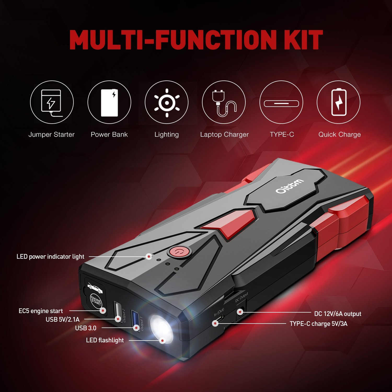 Car Jump Starter, Oittm 1500A Peak Current 15600mAh Car Battery Booster(Up to 8.0L Gas and 6.5L Diesel Engine) Power Bank Portable Charger w/ USB Charge+Quick Charge 3.0+Type-C+12V DC Output+LED Light by Oittm (Image #2)