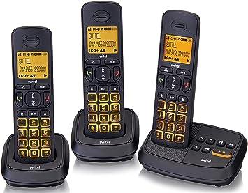 dct59073 Kit teléfonos inalámbrico 3 teléfonos sin hilos Tris Trio con contestador 25 minutos libres teclas y pantalla iluminadas función intercomm conferencias a 3 teclas llamadas directa: Amazon.es: Electrónica