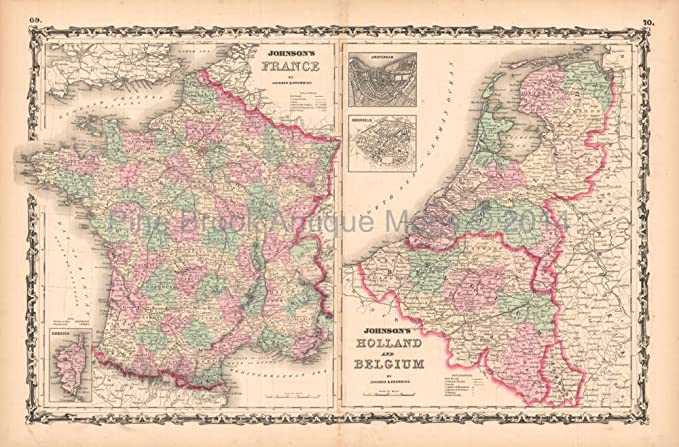 Map Of France And Holland Belgium.France Holland Antique Map Aj Johnson 1862 Authentic French Decor