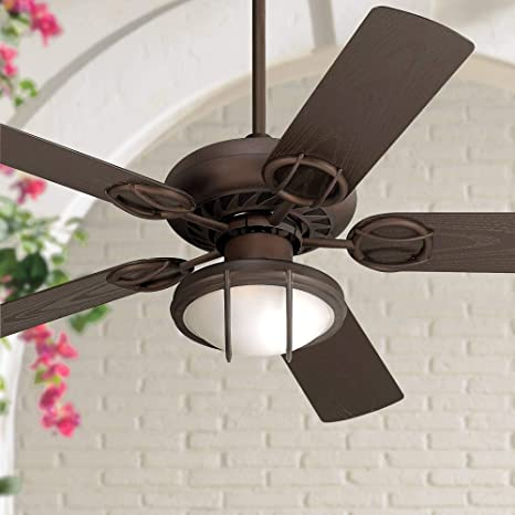 52 Orb Outdoor Ceiling Fan With Light Led Oil Rubbed Bronze Frosted Glass Wet Rated For Patio Porch Casa Vieja Amazon Com
