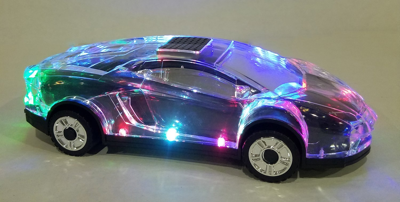 Car Style Bluetooth Wireless Speaker with Flashing Lights - Black