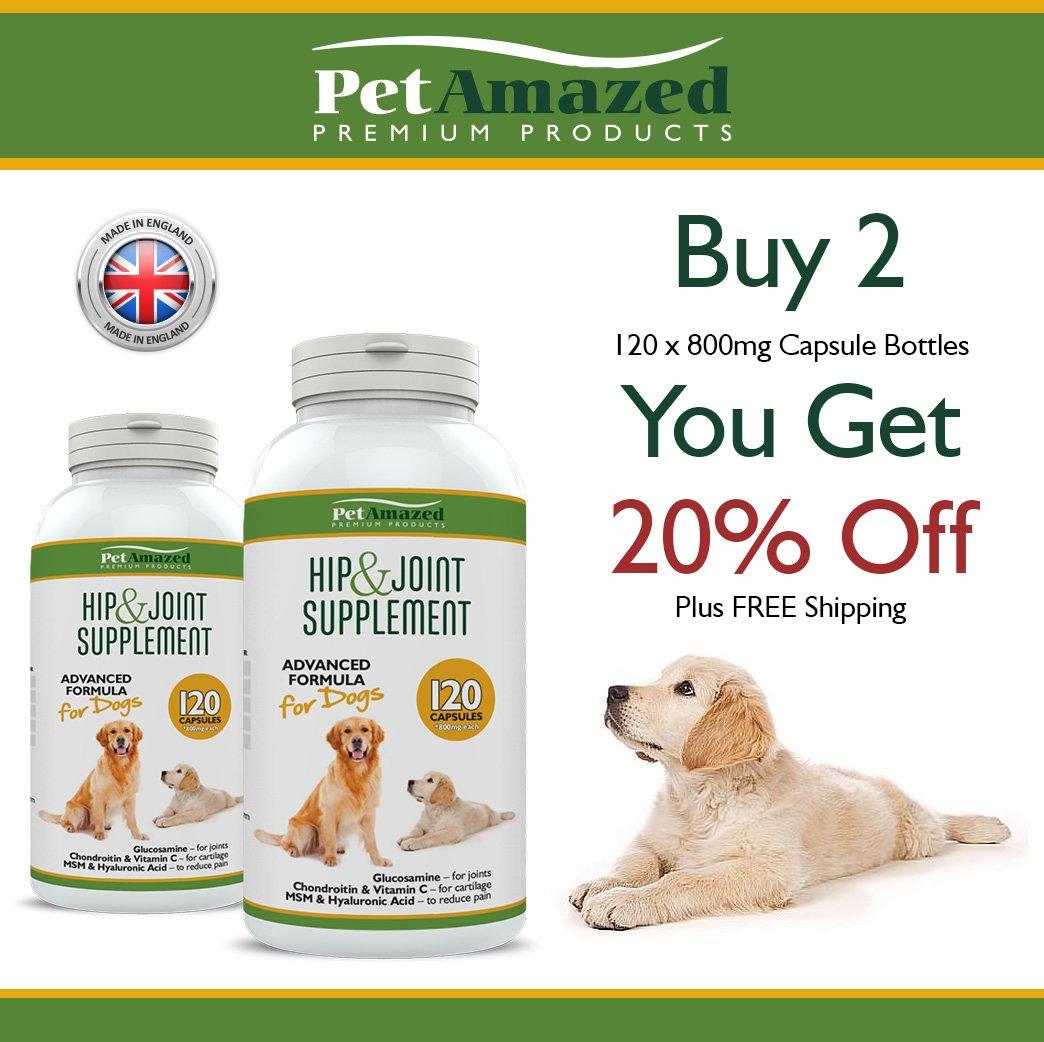 Suplemento avanzado para perros cadera y articulaciones 120 cápsulas Glucosamina HCL, Condroitina, MSM, Vitamina C y ácido Hialurónico - Hecho en el Reino ...