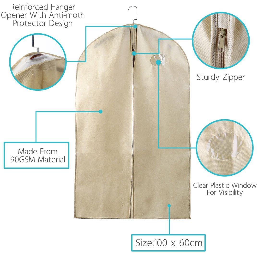 Amazon.com: eDealMax 40 pulgadas transpirable Traje plegable Bolsa de ropa, cubierta del Vestido, ropa Cubiertas Para viajes, (Pack DE 5, DE Color caqui): ...