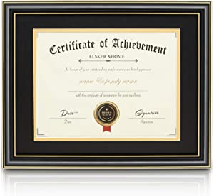 ELSKER&HOME Diploma Frame – Classic Gloss Black Wood Color Wide Frame - ONLY Fits 11×14 Document/Certificate - Acrylic Plate - Wall Mount Display (Double Mat,Black Mat with Golden Rim)
